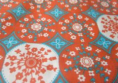 Vintage 70s Orange and Turquoise Fabric 3 plus by HerVintageCrush, $18.00