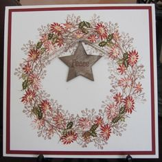 Created a wreath with Card-io & Tapestry stamps using Versafine & Distress inks. Stickles, liquid pearls and a wooden star, which I stamped with a 'peace' stamp added. Xmas Cards, Diy Cards, Holiday Cards, Cardio Cards, Winter Cards, Flower Cards, Greeting Cards Handmade, Homemade Cards, Paper Crafts