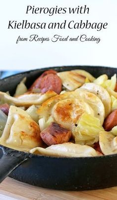 Pierogies with Kiebasa and Cabbage - Recipes, Food and Cooking Pierogies with Kielbasa and Cabbage can be on the table in about 30 minutes. Perfect for a weekday supper! Cabbage Recipes, Pork Recipes, Cooking Recipes, Cooking Food, Recipes With Kielbasa, Fast Recipes, Paleo Recipes, Pierogi Casserole, Casserole Recipes