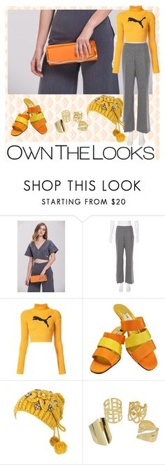 """""""Orange Metallic Clutch Bag"""" by ownthelooks ❤ liked on Polyvore featuring Moncler, Puma and ESCADA"""