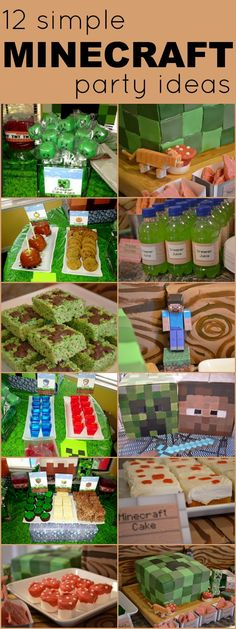 12 Simple Minecraft Party Ideas...Like the mini square cake idea and the marshmellow mushrooms
