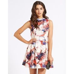 Wal G High Neck Floral Print Skater Dress ($51) ❤ liked on Polyvore featuring dresses, white floral print dress, white high neck dress, floral dress, high neckline dress and white flower print dress