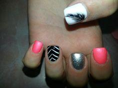 Feathers nails# black patterns nail art