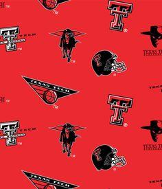 Texas Tech University Fabric Fine Cotton Classic School Colored Ground Allover Design-Sold by the Yard - College Fabric Store Texas Tech University, Fleece Fabric, Team Logo, Sewing, School, Classic, Cotton, College, Yard
