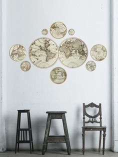 Antique Maps Wall Decals (9 PC)