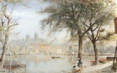 LINCOLN by ALBERT GOODWIN Lincoln, Original Artwork, Cathedral, Sunset, Landscape, The Originals, Architecture, Artist, Painting