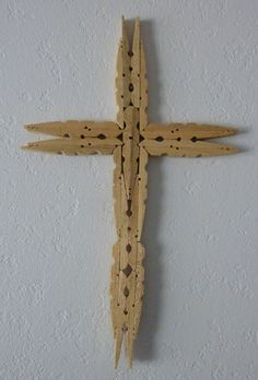 Folk Art Clothes Pin Cross by ThreeChickenSisters on Etsy
