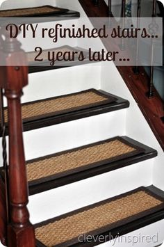 DIY refinished stairs...an update  @cleverlyinspired