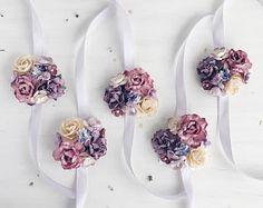 Irresistible Your Wedding Flowers Ideas. Mesmerizing Your Wedding Flowers Ideas. Purple Wedding Flowers, Lavender Flowers, Flower Bouquet Wedding, Wrist Corsage Wedding, Bridesmaid Corsage, Bridesmaids, Corsage And Boutonniere, Flower Corsage, Boutonnieres