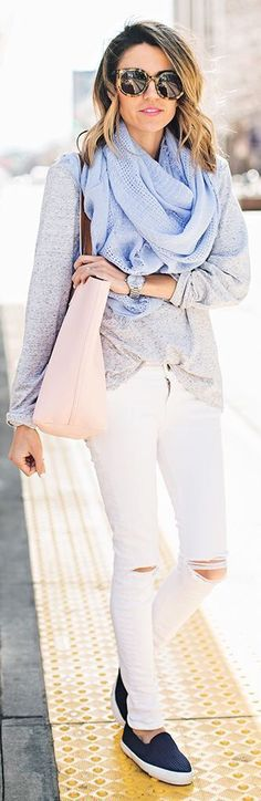 Grey lightweight sweater, pastel pink purse, lightweight blue scarf with these white jeans are a perfect spring combo