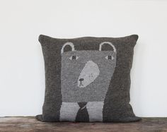 Decorative Pillow - Mr.Bear - soft knitted pillow - oyster grey (brown), 18x18, includes insert ($89.00) - Svpply