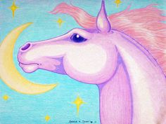 """""""Moon Horse"""" by Angela K. Scott. ~Colored pencils.  --- Artwork, Art, Illustration, Horse, Steed, Equine, Night Skies, Moon and Stars, Horse Head, My Little Pony, Pastels, Whimsical, Crescent Moon, Whimsy, Imagination, Dreamy, Sweet, Cute, Realism, Realistic."""