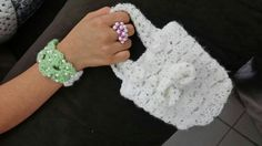 Crochet ring ,bracelet and handbag