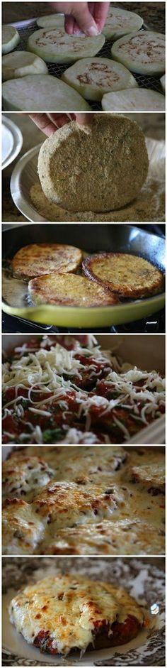 Eggplant Parmesan. Easy version use jarred spaghetti or marinara sauce of our choice.