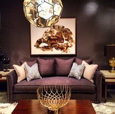 "Love that fixture…love the whole set up!  ""Black on Black Gold - Robin Bruce Collection from Rowe Furniture High Point Fall Market 2013 