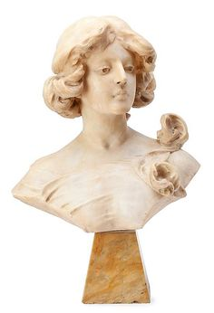Cristoforo VicariCaslano 1846, active in Zurich during the second half of the 19th CenturyYoung woman with hair gathered upArt Nouveau alabaster bust with marble...