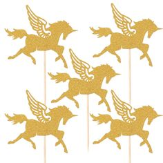 FENGRISE 5pcs Gold Unicorn Pegasus Cake Toppers Wedding Favors Boy Girl Kids Favor Baby Shower Birthday Party Cake Decoration
