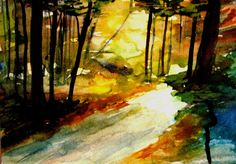Autumn forests. Original watercolor painting.