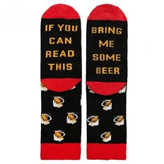 """The top of the socks feature Wine Glasses, and the bottom is sewn with a Hilarious Hidden Message: """"If You Can Read This - Bring Me Some Beer"""". Simply kick your shoes off and put up your feet up to display the succinct message to everyone around you. Best Gag Gifts, Cool Gifts, Beer Socks, Bacon Socks, Outdoor Companies, Space Socks, Food Socks, Funny Socks, Novelty Socks"""