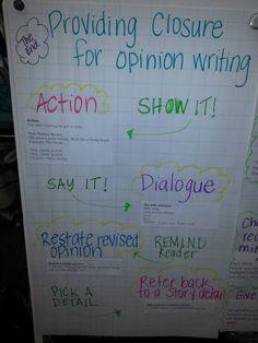 Opinion Writing: Providing Closure anchor chart