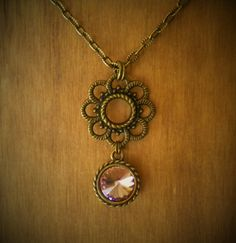 Antique Brass Decorative Flower Drop Pendant by McHughCreations