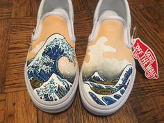 Vans Slip on custom shoes made to order with the imagery of your choice Vans Slip On Shoes, Custom Vans Shoes, Custom Painted Shoes, Painted Canvas Shoes, Custom Sneakers, Painted Vans, Women's Shoes, Art Shoes, Hype Shoes