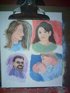 Four paintings of people. My fav is the mother and child.