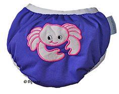 Zwemluier van het merk Monkey Doodlez. Kleur is paars met een #krab applicatie.  #baby #zwemluier
