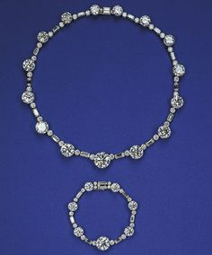 "The necklace and bracelet was given to the Queen II while still a princess in 1947 as a gift for her twenty-first birthday.    Known as the ""South Africa"" necklace and bracelet—taking its name from the source of the opulent gift, the pieces remain favorites of her Majesty who can be seen wearing them with regularity."