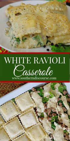 This easy recipe is full of shortcuts to make a delicious lasagna style casserole with white sauce! Layers of spinach, frozen cheese ravioli, Italian sausage, Alfredo sauce & cheese are baked to a golden, bubbly baked perfection in no time at all. Easy Casserole Recipes, Pasta Recipes, Beef Recipes, Chicken Recipes, Cooking Recipes, Baked Ravioli Casserole, Italian Sausage Recipes, Lasagna Recipes, Al Dente