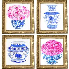 Love blue ginger jars with peonies. -- fun paintings for a house