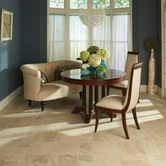 Classic and beautiful. These travertine look tiles from the Daltile Cortona collection add natural beauty to any room in your home. Best Flooring, Flooring Options, Modern Wood Floors, Stone Tile Flooring, Moving Furniture, Floor Design, Living Room Designs, Dining Table, Dining Rooms