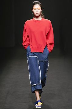 Rocket x Lunch Seoul Spring 2016 Fashion Show, fringed patch studded to front leg of jeans