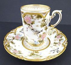 Late Century Antique Austrian Japanese-Style Chocolate Cup & Saucer - Pink Floral Design on White Ground with Gold Gilt Porcelain Dolls For Sale, Glass Tea Cups, China Tea Sets, Teapots And Cups, Chocolate Cups, My Cup Of Tea, Porcelain Ceramics, China Porcelain, Antique China