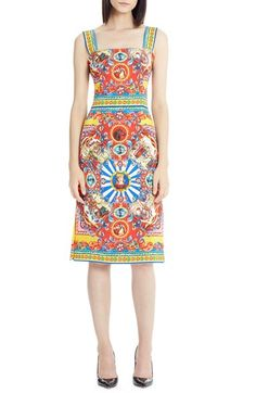 Dolce&Gabbana Carretto Print Stretch Silk Dress available at #Nordstrom