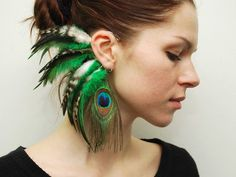 Ear cuffs need a revival: fantasy elf ears and rainbow feathers