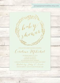 mint gold baby shower invitation printable wreath mint green gold glitter shower gender neutral digital invite customizable