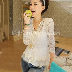 Women's Lace White V Neck Long Sleeve Lace - USD $13.99