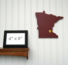 """Minnesota Golden Gophers """"State Heart"""" wall art, handcrafted wood with official team colors $29.00"""