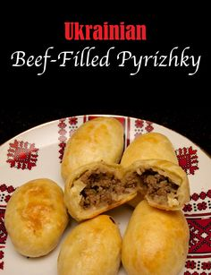 - Ukrainian Beef Filled Pyrizhky - these are sometimes referred to as 'Pirozhk. - Yummy - Russian Recipes- Ukrainian Beef Filled Pyrizhky - these are sometimes referred to as 'Pirozhki' or 'Piroshki'. Regardless, they are beef-filled baked buns th Ukrainian Recipes, Russian Recipes, Ukrainian Food, Meat Bun, Beef Recipes, Cooking Recipes, Curry Recipes, Recipies, Borscht