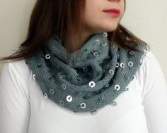 Sequin Scarf Valentines Day Gift Scarf Metallic Dot by HeraScarf