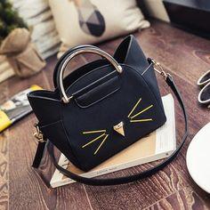 Classy Cat Purse - Love Cat Design Leather Handbags, Leather Bag, Cat Purse, Trendy Accessories, Stitching Leather, Everyday Bag, Cute Bags, Crossbody Shoulder Bag, Shoulder Handbags
