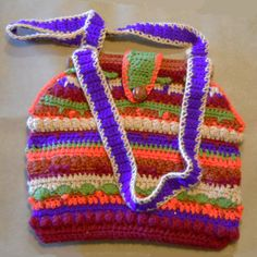 New Crochet Boho Style Bag with Extreme Coloration Large Purse. $32.00, via Etsy.