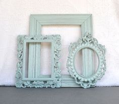 Mint Ornate Vintage Frames- Upcycled Painted OPEN frames Mint Nursery Mint Coral Peach Home Decor Beach Cottage Coastal