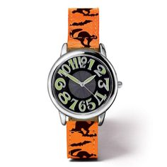 spooky nights strap watch silvertone case with glow in the dark hands