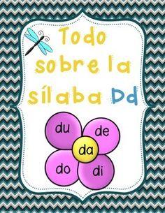 Las Silabas da de di do du - letra Dd- consonante Dd Spanish Activities, Fun Activities, Syllable, Ring Binder, Learn To Read, Student Learning, Education, Reading, School