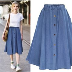 Sommer Jeans Rock Frauen Hohe Taille Denim Röcke Weibliche Mini Saia Plus Größe Faldas Casual Bleistiftrock High Waisted Denim Skirt, Denim Skirt Outfits, Outfit Jeans, Jean Outfits, Pleated Skirt, Denim Skirt Midi, Midi Skirts, A Skirt, Long Denim Skirts