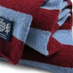 West Ham Savile Rogue Microbar bar scarf - world's most luxurious cashmere football scarf in claret and blue colours. West Ham United Fc, Premier League, Cashmere, Scarves, Football, Colours, Mom, Crochet, Scarfs