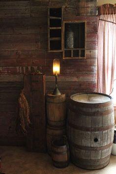 My favorite primitive corner of my family room. Love barrels, tin lighting, tin lantern and old cupboards. Primitive Homes, Primitive Antiques, Country Primitive, Primitive Decor, Primitive Lighting, Prim Decor, Country Decor, Country Homes, Country Style