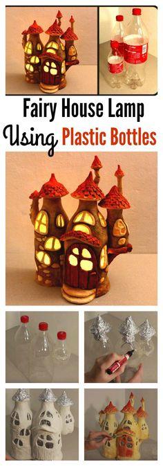 DIY Casa de hadas de la lámpara utilizando botellas de plástico
